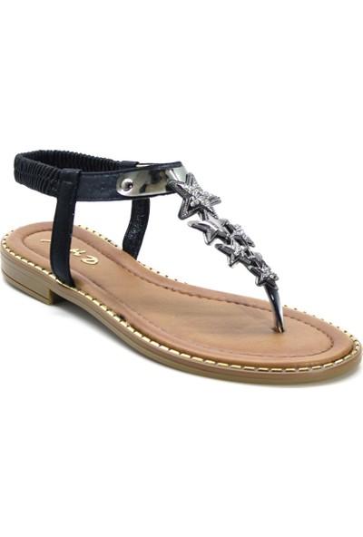 Cushy 052 Siyah Parmak Arası Taşlı Kadın Sandalet
