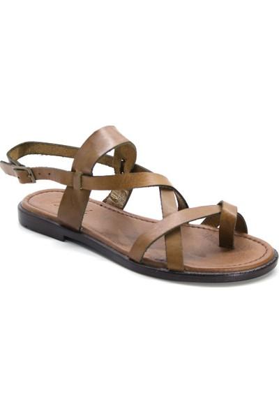 Cushy 123 Taba Parmak Arası Deri Kadın Sandalet