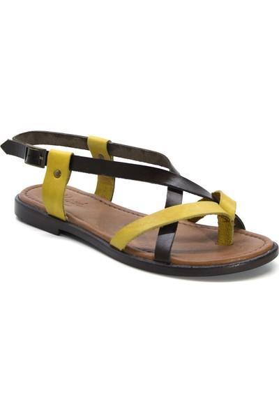 Cushy 106 Kahve-Sarı Parmak Arası Deri Kadın Sandalet