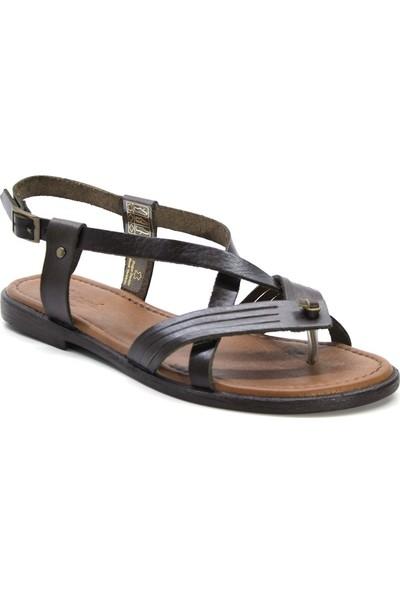 Cushy 104 Kahverengi Parmak Arası Deri Kadın Sandalet