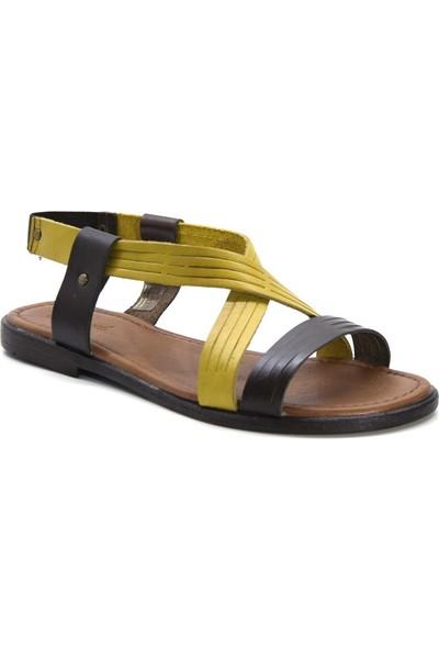 Cushy 122 Kahverengi-Sarı Düz Deri Kadın Sandalet