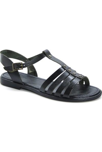 Cushy 107 Siyah Düz Deri Kadın Sandalet