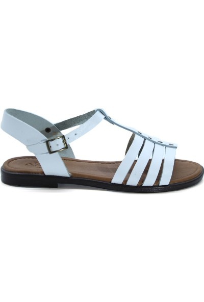 Cushy 107 Beyaz Düz Deri Kadın Sandalet