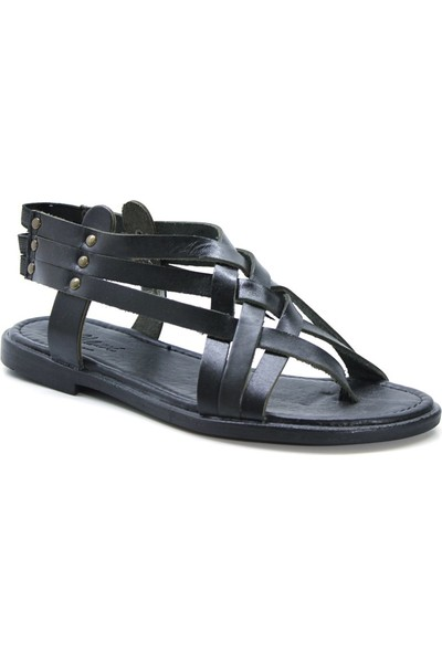 Cushy 105 Siyah Parmak Arası Deri Kadın Sandalet