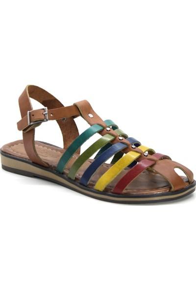 Cushy 055 Multi Düz Deri Kadın Sandalet