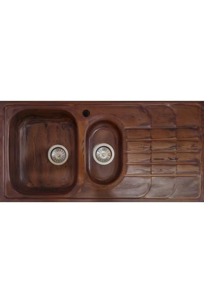 Sellin Kaplama Renklimetal Mutfak Evyesi Ankastre 1.5 Gözlü 48 X 100 Kahverengi Ahşap Görünümlü Sağ Damlalıklı
