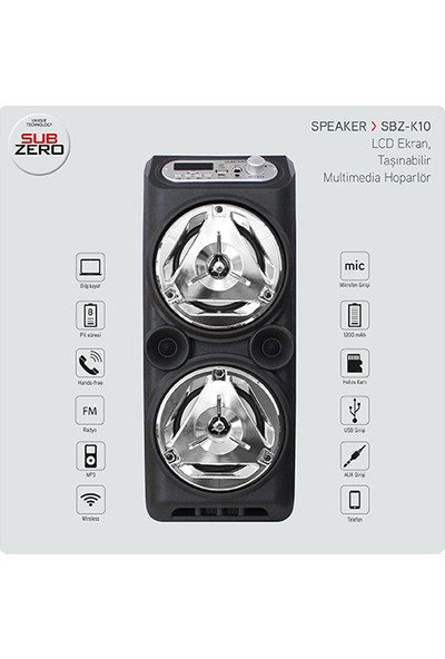 Subzero SBZ-K10 10W Şarjli USB Sd Kart Bluetoth Hoparlör Gri̇