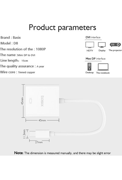 Basix D8 Mini Display To DVI Dönüştürücü Beyaz