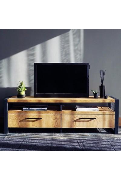 Ahşap Sokağı Edina Metal Ayaklı Ahşap Tv Sehpası 150 cm