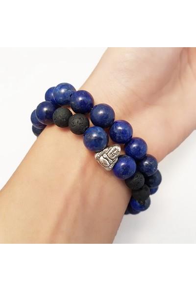 Geometra Concept Lapis Lazuli Lav Taşı Doğaltaş Bileklik Seti Erkek Trend Hediye