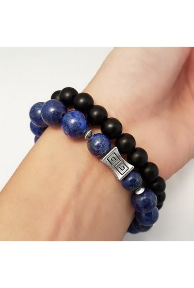 Geometra Concept Lapis Lazuli Oniks Doğaltaş Bileklik Seti Erkek Trend Hediye
