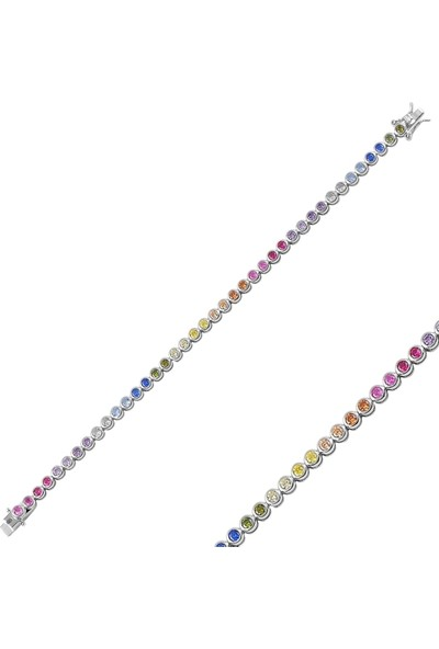 Gümüş (925 Ayar ), Rodyum Kaplama, Renkli Zirkon Taş İşlemeli, Suyolu Kadın Bileklik
