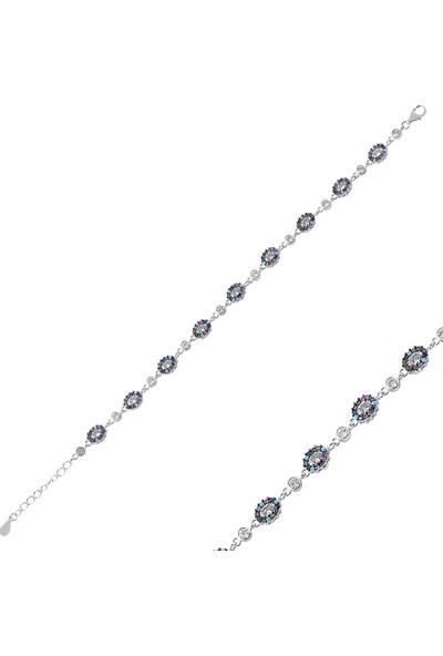 Gümüş (925 Ayar), Renkli Zirkon Taş İşlemeli, Rodyum Kaplama Kadın Bileklik