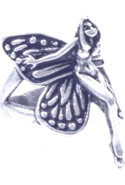 Labalaba Kadin Anti̇k Gümüş Kaplama Kanatli Melek Yüzük
