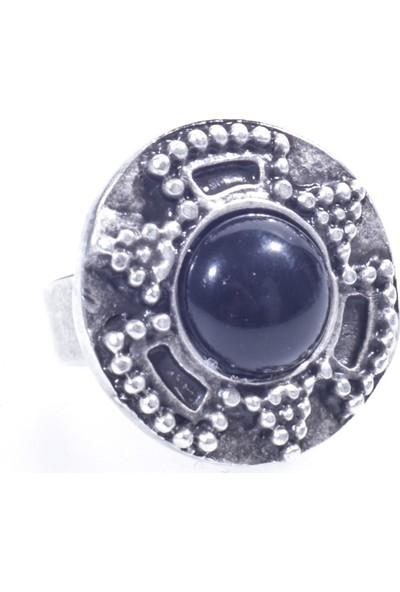 Labalaba Kadin Anti̇k Gümüş Kaplama Zi̇rkon Taşli Si̇yah Boncuklu Geometri̇k Yüzük
