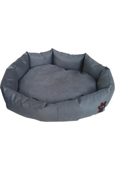 Nohov Oval Tay Tüyü Köpek Yatağı L 75 cm Gri