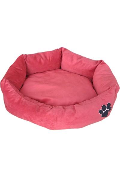 Nohov Oval Tay Tüyü Köpek Yatağı L 75 cm Pembe