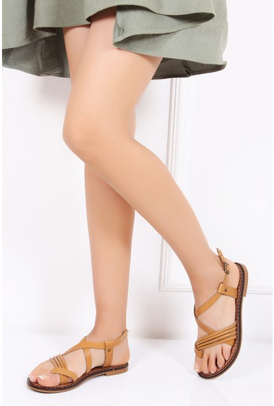 Tarçın Hakiki Deri Günlük Taba Kadın Sandalet Ayakkabı Trc128-0804