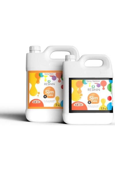 Resinin Slim Extra 7500 Gr A+B Ekstra Sararma Dirençli Ultra Şeffaf Epoksi Reçine (5 Kg Reçine + 2,5 Kg Sertleştirici)
