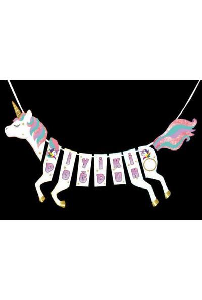 White Süs Flama Unicorn At Şekli̇nde İyi̇ki̇ Doğdun Si̇mli̇ Pk:1
