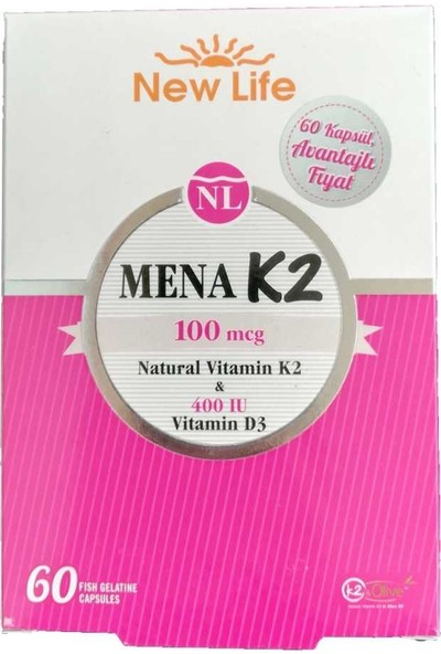 New Life Mena K2 100 Mcg Besin Takviyesi 60 Kapsül