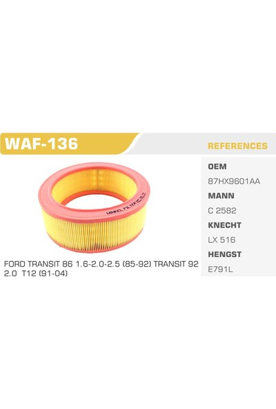 Winkel Waf-136 Ford Transıt T12 Hava Filtresi