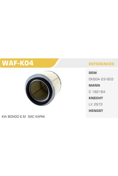 Winkel Waf-K04 Kıa Bango Sac Kapak Hava Filtresi