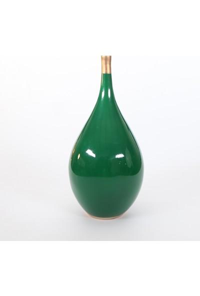 Decorandmore Damla Şişe Dekoratif Vazo Yeşil 20 cm