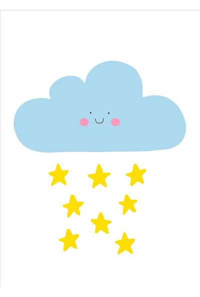 Yamamiya Mavi Yıldız ve Bulut Desenli Zincir Askılı Kanvas Poster