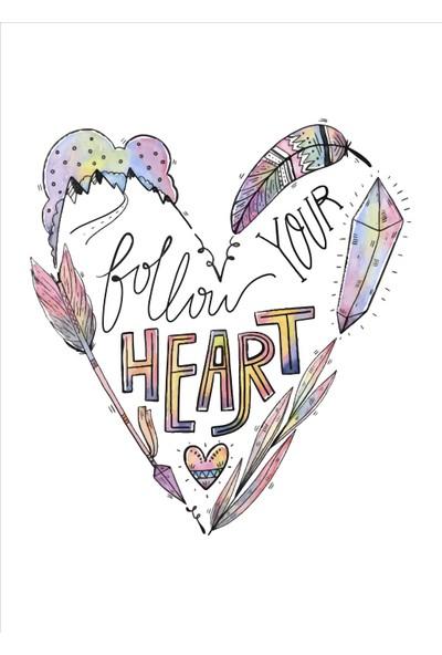 Yamamiya Kalp Desenli Zincir Askılı Kanvas Poster