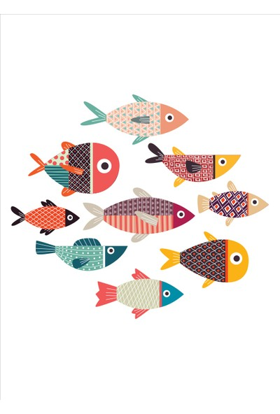 Yamamiya Balık Desenli Zincir Askılı Kanvas Poster