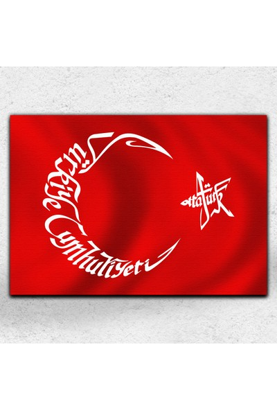 İyi Olsun Atatürk Yazılı Bayrak Kanvas Tablo