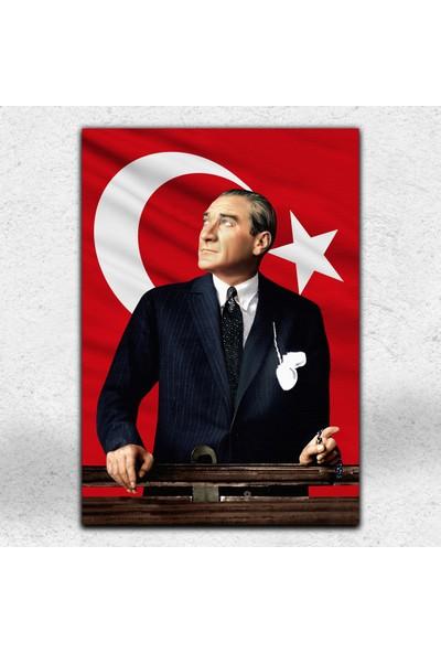İyi Olsun Bayraklı Atatürk Portresi Kanvas Tablo