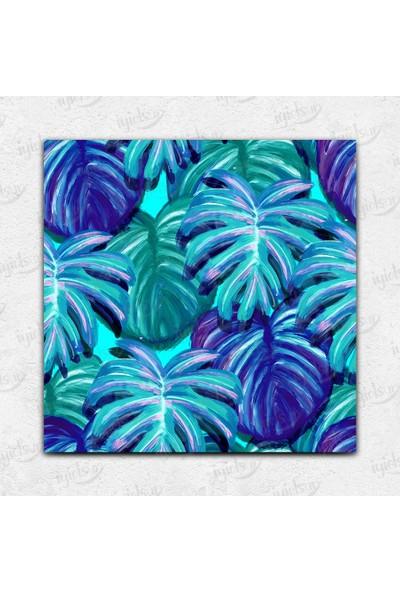 İyi Olsun Renkli Palmiye Yaprakları Temalı Kanvas Tablo