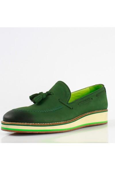 Bruno Shoes Yeşil Nubuk Deri Eva Taban Ayakkabı Erkek B01-8489 0