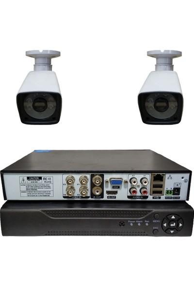 Primuscam 2 Kameralı Set Gece Görüşlü Güvenlik Kamerası 2mp Ahd Dvr Plastik Kasa