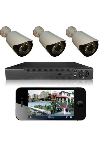 Primuscam 3 Kameralı Set Gece Görüşlü Güvenlik Kamerası 2mp Ahd Dvr Plastik Kasa