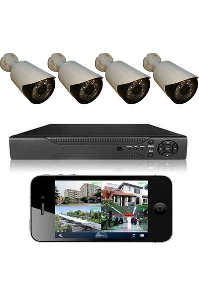 Primuscam 4 Kameralı Set Gece Görüşlü Güvenlik Kamerası 2mp Ahd Dvr Plastik Kasa