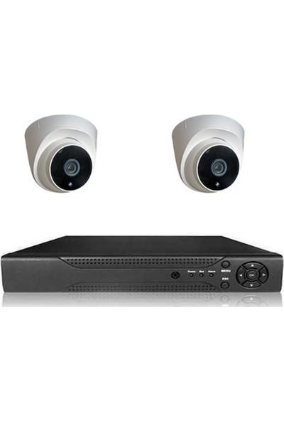 Primuscam Dome Güvenlik Kamera Seti İç Ortam 2 Kameralı Set Gece Görüşlü 2mp Ahd