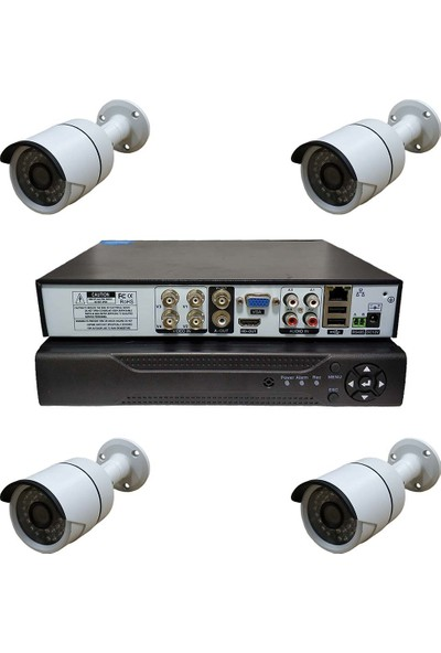 Primuscam Dış Mekan 4 Kameralı Set Gece Görüşlü Güvenlik Kamerası 2mp Ahd Metal Kasa