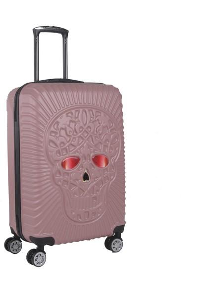 RzNoble Skull Desing Orta Boy Valiz Policarbon Rose RZ125