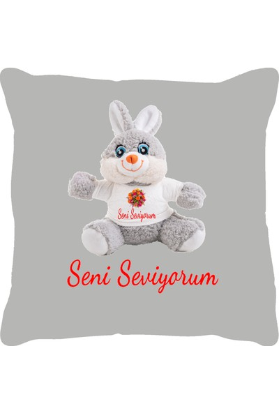 Özgüner 100 cm Bobo Beyaz Bobo Seni̇ Sevi̇yorum + Yastık Tavşan