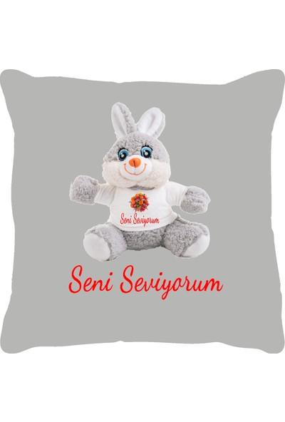 Özgüner 100 cm Bobo Pembe Seni̇ Sevi̇yorum + Yastık Tavşan