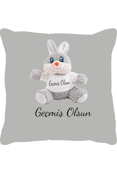 Özgüner 100 cm Bobo Pembe Geçmi̇ş Olsun + Yastık Tavşan