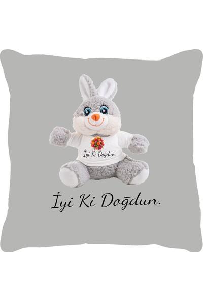 Özgüner 100 cm Bobo Kahve İyi̇ Ki̇ Doğdun + Yastık Tavşan
