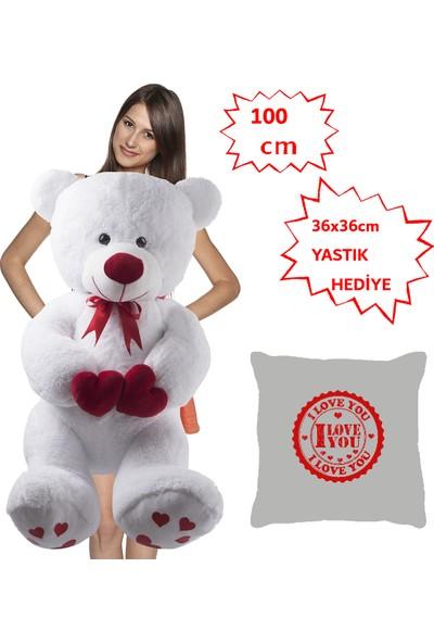Özgüner 100 cm Bobo Beyaz I Love You + Yastık