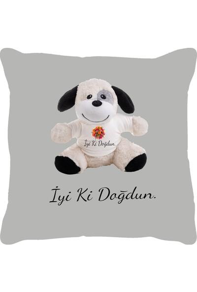 Özgüner 100 cm Bobo Kahve İyi̇ Ki̇ Doğdun + Yastık Köpek