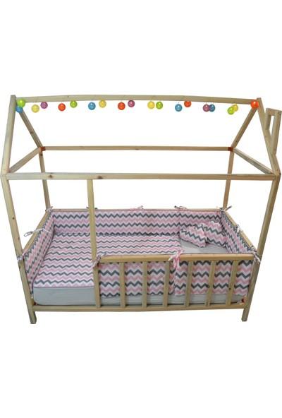Sff Moda Montessori Yan Koruma Seti ve Pike Takımı ve Bulut Yastıklar Pembe Gri Zigzag Desen 90x190cm