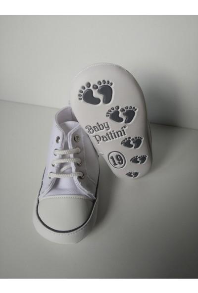 Pattini Bebek Ayakkabı Makosen Bağcıklı Uzun Model Beyaz 18