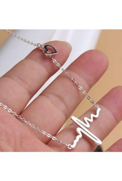 Takı Store Kalp Ri̇Ti̇M Model Taki Kolye Gümüş - Altin Kaplama Anneler Günü